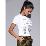 Brief Round Collar Short Sleeve Letters Wine Glasses Print Women's T-Shirt deal