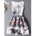 Stylish Sleeveless Round Neck Oil Painting Print Women's Dress