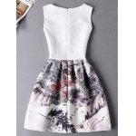 cheap Stylish Sleeveless Round Neck Oil Painting Print Women's Dress