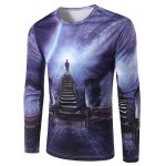 Slimming 3D Stairs Printing Collarless Long Sleeves For Men