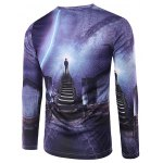 cheap Slimming 3D Stairs Printing Collarless Long Sleeves For Men
