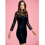 cheap Stylish Round Neck 3/4 Sleeve Black Lace Women's Bodycon Dress