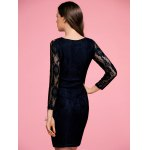 Stylish Round Neck 3/4 Sleeve Black Lace Women's Bodycon Dress for sale