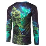 cheap Slimming 3D Plant Printing Collarless Long Sleeves For Men