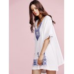 Stylish V Neck Half Sleeves Ethnic Embroidery Women's Dress for sale