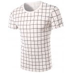 Round Neck Stylish Checked Short Sleeve T-Shirt For Men