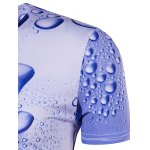Slimming 3D Drop of Water Printing Collarless Short Sleeves For Men for sale