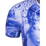 Slimming 3D Drop of Water Printing Collarless Short Sleeves For Men deal