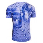 cheap Slimming 3D Drop of Water Printing Collarless Short Sleeves For Men