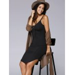 Alluring Spaghetti Strap Black Lace-Up Women's Dress deal