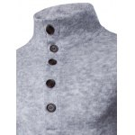Casual Stand Collar Button Design Long Sleeves Sweater For Men deal