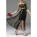 Boat Neck See Through Floral Embroidered Dress deal