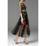 Boat Neck See Through Floral Embroidered Dress for sale