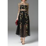 See-Through Flower Embroidered Swing Dress