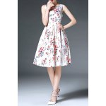 Round Neck Sleeveless Printed Bowknot Dress deal