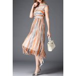 Stand Neck Short Sleeve Striped Dress for sale