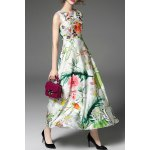 Round Neck High Waisted Floral Embroidery Dress deal