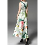 cheap Round Neck High Waisted Floral Embroidery Dress