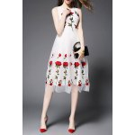 Stand Neck Sleeveless Rose Embroidery Dress deal