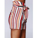 cheap Fashion Color Block Stripe High Waist Bandage Shorts For Woman