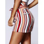 Fashion Color Block Stripe High Waist Bandage Shorts For Woman deal