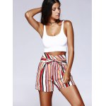 best Fashion Color Block Stripe High Waist Bandage Shorts For Woman