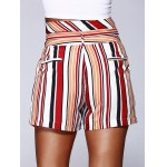 Fashion Color Block Stripe High Waist Bandage Shorts For Woman for sale