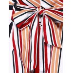 Fashion Color Block Stripe High Waist Bandage Shorts For Woman photo