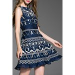 cheap Round Collar Embroidered Tank Dress