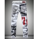 cheap Casual Colorful Printing Zip Fly Straight Legs Denim Pants For Men