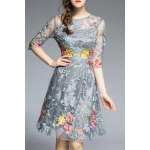 Round Neck Floral Embroidery Dress