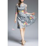 Round Neck Floral Embroidery Dress for sale