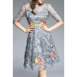 Round Neck Floral Embroidery Dress deal