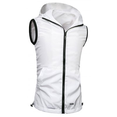 Solid Color Hooded Zipper Vest For Men