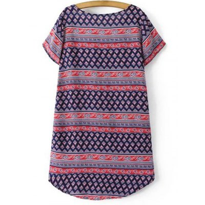 Casual Vintage Print Women's Shift Dress