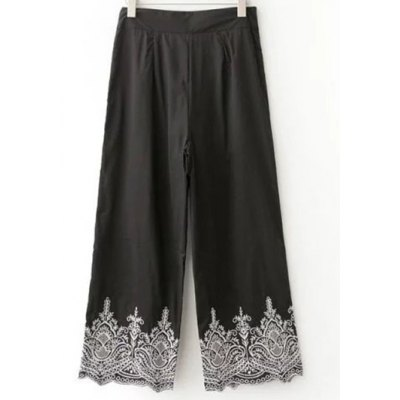 Trendy Embroidered Wide Leg Women's Pants