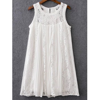 Mix Lace Pleated Dress