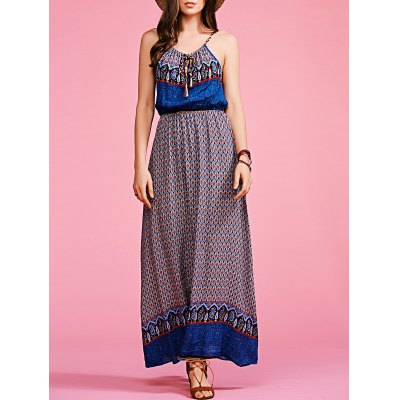 Ethnic Style Cami Print High Waisted Maxi Dress For Women