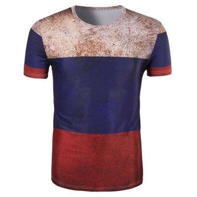 3D Retro Color Block Round Neck Short Sleeve T-Shirt For Men