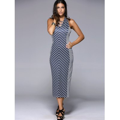Slimming Halter Backless Lace Up Chevron Dress For Women