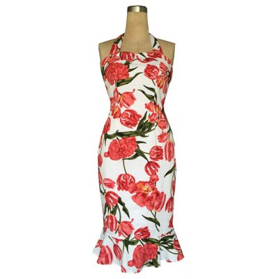 Chic Halter Mermaid Floral Print Backless Sheath Dress For Women