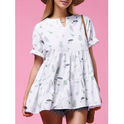 Short Sleeve Plant Print Flounced Women's Blouse