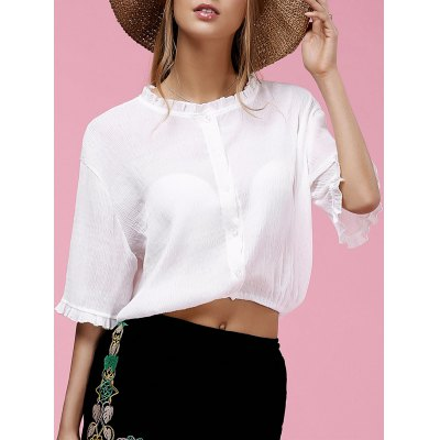 Sweet Half Sleeve Round Neck Ruffled Chiffon Blouse