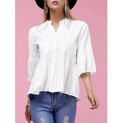 Sweet V-Neck Buttoned Flare Sleeve Blouse
