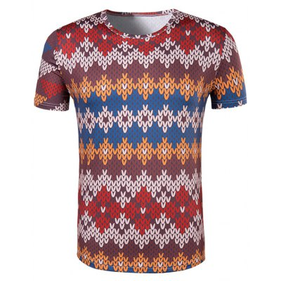 National Style Printed Collarless Short Sleeves For Men