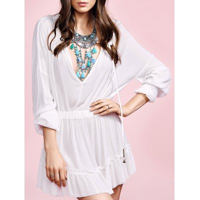 Stylish V Neck Long Sleeve White Ruffles Women's Dress