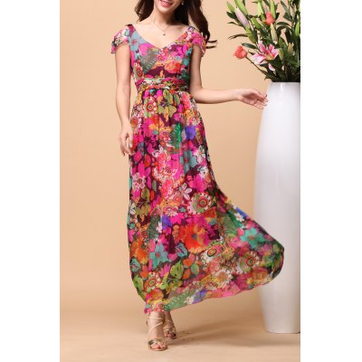 V Neck Silk Floral Print Beach Dress