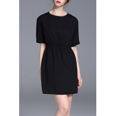 Elastic Pure Color Dress
