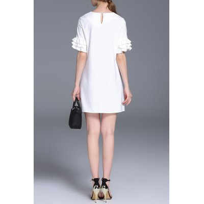 Solid Color Flounced Multi-Layer Dress
