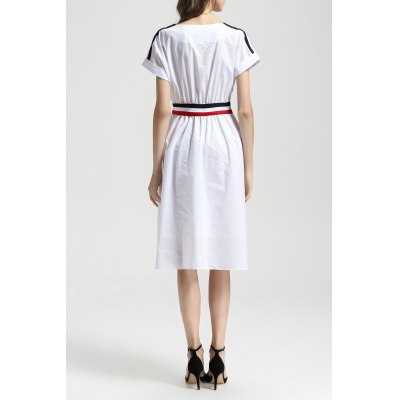 Cotton A Line DressDesigner Dresses<br>Cotton A Line Dress<br><br>Style: Casual<br>Occasion: Casual,Day,Work<br>Material: Cotton<br>Composition: 100% Cotton<br>Silhouette: A-Line<br>Dresses Length: Mid-Calf<br>Neckline: Round Collar<br>Sleeve Length: Short Sleeves<br>Waist: Empire<br>Pattern Type: Others<br>With Belt: No<br>Season: Summer<br>Weight: 0.450kg<br>Package Contents: 1 x Dress